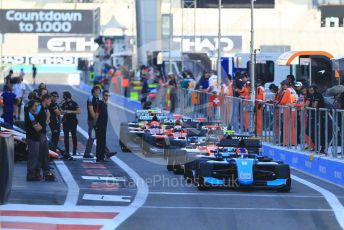 World © Octane Photographic Ltd. GP3 – Abu Dhabi GP – Practice. The cars line up ready for the green light. Yas Marina Circuit, Abu Dhabi. Friday 23rd November 2018.