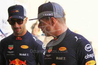 World © Octane Photographic Ltd. Formula 1 –  Abu Dhabi GP - Paddock. Aston Martin Red Bull Racing TAG Heuer RB14 – Max Verstappen and Daniel Ricciardo. Yas Marina Circuit, Abu Dhabi. Sunday 25th November 2018.
