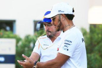 World © Octane Photographic Ltd. Formula 1 – Abu Dhabi GP - Paddock. McLaren MCL33 – Fernando Alonso and Mercedes AMG Petronas Motorsport AMG F1 W09 EQ Power+ - Lewis Hamilton. Yas Marina Circuit, Abu Dhabi. Thursday 22nd November 2018.