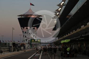 World © Octane Photographic Ltd. Formula 1 –  Abu Dhabi GP - Pit Lane. Year of Zayed marking on the race control tower. Yas Marina Circuit, Abu Dhabi. Thursday 22nd November 2018.