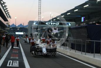 World © Octane Photographic Ltd. Formula 1 – Abu Dhabi GP - Pit Lane. Alfa Romeo Sauber F1 Team C37 – Antonio Giovinazzi. Yas Marina Circuit, Abu Dhabi. Thursday 22nd November 2018.