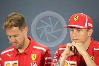 World © Octane Photographic Ltd. Formula 1 – Abu Dhabi GP - FIA Drivers' Press Conference. Scuderia Ferrari – Sebastian Vettel and Kimi Raikkonen. Yas Marina Circuit, Abu Dhabi. Thursday 22nd November 2018.