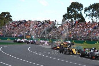 World © Octane Photographic Ltd. Formula 1 – Australian GP - Race. Haas F1 Team VF-18 – Romain Grosjean and Renault Sport F1 Team RS18 – Nico Hulkenberg. Albert Park, Melbourne, Australia. Sunday 25th March 2018.