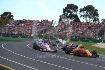 World © Octane Photographic Ltd. Formula 1 – Australian GP - Race. McLaren MCL33 – Stoffel Vandoorne and Sahara Force India VJM11 - Sergio Perez. Albert Park, Melbourne, Australia. Sunday 25th March 2018.