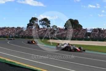 World © Octane Photographic Ltd. Formula 1 – Australian GP - Race. Haas F1 Team VF-18 – Kevin Magnussen and Aston Martin Red Bull Racing TAG Heuer RB14 – Max Verstappen. Albert Park, Melbourne, Australia. Sunday 25th March 2018.