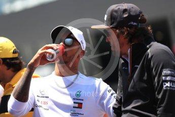 World © Octane Photographic Ltd. Formula 1 – Austrian GP - Drivers Parade. Mercedes AMG Petronas Motorsport AMG F1 W09 EQ Power+ - Lewis Hamilton and McLaren MCL33 – Fernando Alonso. . Red Bull Ring, Spielberg, Austria. Sunday 1st July 2018.