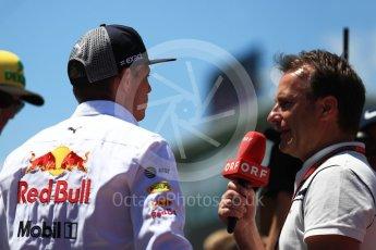 World © Octane Photographic Ltd. Formula 1 – Austrian GP - Drivers Parade. Aston Martin Red Bull Racing TAG Heuer RB14 – Max Verstappen. Red Bull Ring, Spielberg, Austria. Sunday 1st July 2018.