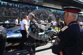 World © Octane Photographic Ltd. Formula 1 – Austrian GP - Grid. Police watches the Mercedes AMG Petronas Motorsport AMG F1 W09 EQ Power+ - Valtteri Bottas. Red Bull Ring, Spielberg, Austria. Sunday 1st July 2018.
