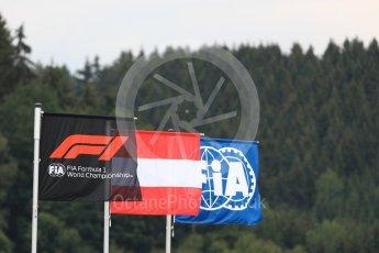 World © Octane Photographic Ltd. Formula 1 – Austrian GP - Qualifying. Formula 1 flag. Red Bull Ring, Spielberg, Austria. Saturday 30th June 2018.