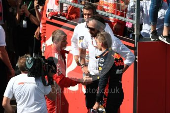 World © Octane Photographic Ltd. Formula 1 – Austrian GP - Race Podium. Aston Martin Red Bull Racing TAG Heuer RB14 – Max Verstappen and Scuderia Ferrari SF71-H – Sebastian Vettel. Red Bull Ring, Spielberg, Austria. Sunday 1st July 2018.