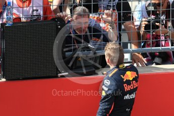 World © Octane Photographic Ltd. Formula 1 – Austrian GP - Race Podium. Aston Martin Red Bull Racing TAG Heuer RB14 – Max Verstappen and father Jos. Red Bull Ring, Spielberg, Austria. Sunday 1st July 2018.