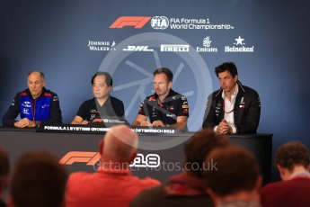 World © Octane Photographic Ltd. Formula 1 - Austrian GP - Friday FIA Team Press Conference. Christian Horner - Team Principal of Red Bull Racing, Toto Wolff - Executive Director & Head of Mercedes-Benz Motorsport, Toyoharu Tanabe – Honda Performance Development (HPD) Senior Manager and Franz Tost – Team Principal of Scuderia Toro Rosso. Red Bull Ring, Spielberg, Austria. Friday 29th June 2018.