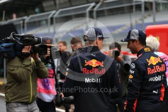 World © Octane Photographic Ltd. Formula 1 – Austrian GP - Pit Lane. Aston Martin Red Bull Racing TAG Heuer RB14 – Daniel Ricciardo and Max Verstappen. Red Bull Ring, Spielberg, Austria. Thursday 28th June 2018.