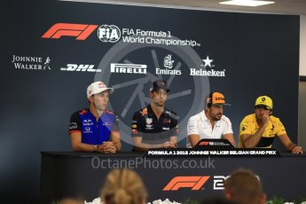 World © Octane Photographic Ltd. Formula 1 – Belgian GP - FIA Drivers' Press Conference. McLaren – Fernando Alonso, Scuderia Toro Rosso – Pierre Gasly, Aston Martin Red Bull Racing TAG Heuer – Daniel Ricciardo and Renault Sport F1 Team – Carlos Sainz. Spa-Francorchamps, Belgium. Thursday 23rd August 2018.