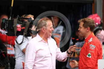 World © Octane Photographic Ltd. Formula 1 – Belgian GP - Race Podium. Scuderia Ferrari SF71-H – Sebastian Vettel talks with Martin Brundle. Spa-Francorchamps, Belgium. Sunday 26th August 2018.
