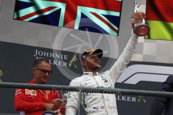 World © Octane Photographic Ltd. Formula 1 – Belgian GP - Race Podium. Mercedes AMG Petronas Motorsport AMG F1 W09 EQ Power+ - Lewis Hamilton. Spa-Francorchamps, Belgium. Sunday 26th August 2018.