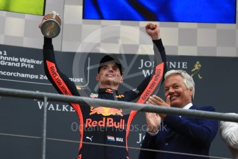 World © Octane Photographic Ltd. Formula 1 – Belgian GP - Race Podium. Aston Martin Red Bull Racing TAG Heuer RB14 – Max Verstappen. Spa-Francorchamps, Belgium. Sunday 26th August 2018.