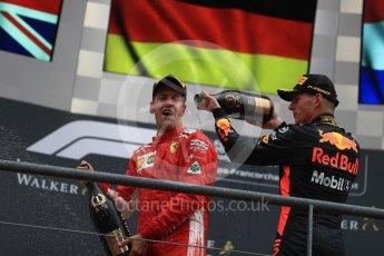 World © Octane Photographic Ltd. Formula 1 – Belgian GP - Race Podium. Scuderia Ferrari SF71-H – Sebastian Vettel and Aston Martin Red Bull Racing TAG Heuer RB14 – Max Verstappen. Spa-Francorchamps, Belgium. Sunday 26th August 2018.