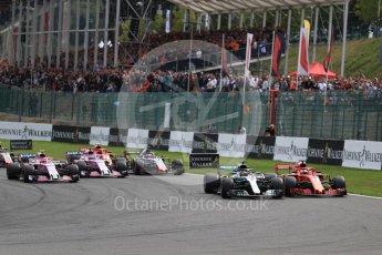 World © Octane Photographic Ltd. Formula 1 – Belgian GP - Race. Mercedes AMG Petronas Motorsport AMG F1 W09 EQ Power+ - Lewis Hamilton and Scuderia Ferrari SF71-H – Sebastian Vettel battle. Spa-Francorchamps, Belgium. Sunday 26th August 2018.