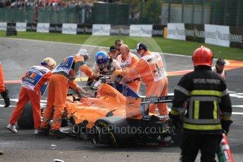 World © Octane Photographic Ltd. Formula 1 – Belgian GP - Race. McLaren MCL33 – Fernando Alonso comes to a halt. Spa-Francorchamps, Belgium. Sunday 26th August 2018.