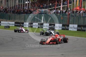 World © Octane Photographic Ltd. Formula 1 – Belgian GP - Race. Scuderia Ferrari SF71-H – Sebastian Vettel leads behind the safety car. Spa-Francorchamps, Belgium. Sunday 26th August 2018.