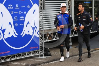 World © Octane Photographic Ltd. Formula 1 – Belgian GP - Paddock. Scuderia Toro Rosso STR13 – Pierre Gasly and Aston Martin Red Bull Racing TAG Heuer RB14 – Daniel Ricciardo. Spa-Francorchamps, Belgium. Friday 24th August 2018.