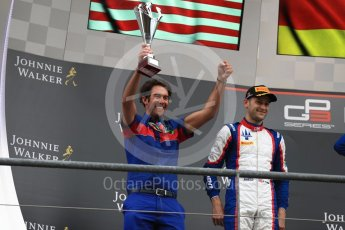 World © Octane Photographic Ltd. GP3 – Belgian GP – Race 1. Trident - Ryan Tveter, along with Trident team member who collected the trophy on behalf of the team. Spa Francorchamps, Belgium. Saturday 25th August 2018.