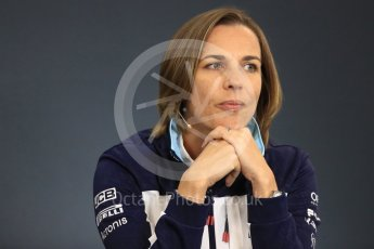 World © Octane Photographic Ltd. Formula 1 - Belgian GP - Friday FIA Team Press Conference. Claire Williams - Deputy Team Principal of Williams Martini Racing. Spa-Francorchamps, Belgium. Friday 24th August 2018.