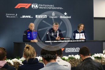 World © Octane Photographic Ltd. Formula 1 - Belgian GP - Friday FIA Team. Otmar Szafnauer - Team Principal of Racing Point Force India, Franz Tost – Team Principal of Scuderia Toro Rosso and Claire Williams - Deputy Team Principal of Williams Martini Racing. Spa-Francorchamps, Belgium. Friday 24th August 2018.
