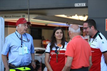 World © Octane Photographic Ltd. Formula 1 - British GP - Paddock. Ruben Juan Fangio - son of Juan Manuel Fangio, Tatiana Calderon - Development Driver Sauber F1 Team and Frederic Vasseur – Team Principal and CEO of Sauber Motorsport AG. Silverstone Circuit, Towcester, UK. Sunday 8th July 2018.