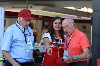 World © Octane Photographic Ltd. Formula 1 - British GP - Paddock. Ruben Juan Fangio - son of Juan Manuel Fangio, Tatiana Calderon - Development Driver Sauber F1 Team and Frederic Vasseur – Team Principal and CEO of Sauber Motorsport AG. Silverstone Circuit, Towcester, UK. Sunday 8th July 2018.