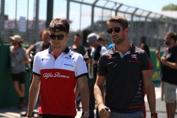 World © Octane Photographic Ltd. Formula 1 – British GP - Drivers' Parade. Alfa Romeo Sauber F1 Team C37 – Charles Leclerc and Haas F1 Team VF-18 – Romain Grosjean. Silverstone Circuit, Towcester, UK. Sunday 8th July 2018.
