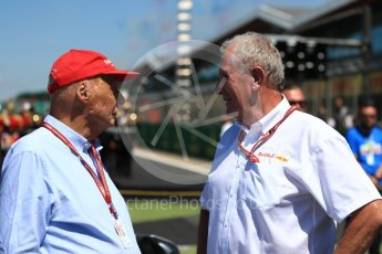 World © Octane Photographic Ltd. Formula 1 - British GP - Grid.Helmut Marko - advisor to the Red Bull GmbH Formula One Teams and head of Red Bull's driver development program and Niki Lauda - Non-Executive Chairman of Mercedes-Benz Motorsport
