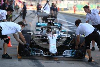 World © Octane Photographic Ltd. Formula 1 – British GP - Paddock. Mercedes AMG Petronas Motorsport AMG F1 W09 EQ Power+ - Lewis Hamilton. Silverstone Circuit, Towcester, UK. Saturday 7th July 2018.