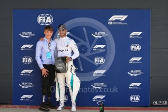 World © Octane Photographic Ltd. Formula 1 – British GP - Qualifying. Mercedes AMG Petronas Motorsport AMG F1 W09 EQ Power+ - Lewis Hamilton and Billy Monger. Silverstone Circuit, Towcester, UK. Saturday 7th July 2018.