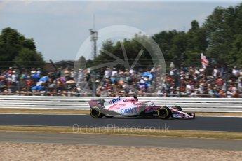 World © Octane Photographic Ltd. Formula 1 – British GP - Qualifying. Sahara Force India VJM11 - Sergio Perez. Silverstone Circuit, Towcester, UK. Saturday 7th July 2018.