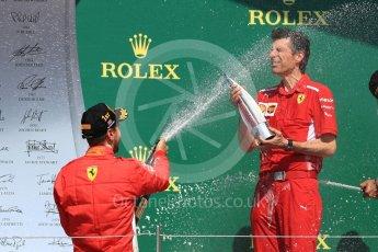 World © Octane Photographic Ltd. Formula 1 – British GP - Podium. Scuderia Ferrari SF71-H – Sebastian Vettel with Claudio Albertini. Silverstone Circuit, Towcester, UK. Sunday 8th July 2018.
