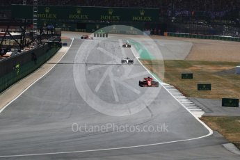 World © Octane Photographic Ltd. Formula 1 – British GP - Race. Scuderia Ferrari SF71-H – Sebastian Vettel and Mercedes AMG Petronas Motorsport AMG F1 W09 EQ Power+ - Valtteri Bottas. Silverstone Circuit, Towcester, UK. Sunday 8th July 2018.