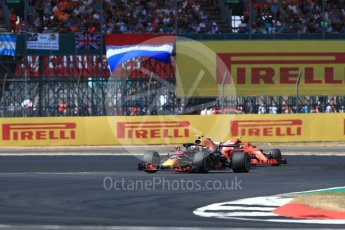 World © Octane Photographic Ltd. Formula 1 – British GP - Race. Aston Martin Red Bull Racing TAG Heuer RB14 – Max Verstappen and Scuderia Ferrari SF71-H – Kimi Raikkonen. . Silverstone Circuit, Towcester, UK. Sunday 8th July 2018.