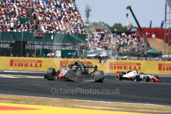 World © Octane Photographic Ltd. Formula 1 – British GP - Race. Haas F1 Team VF-18 – Kevin Magnussen and Romain Grosjean. Silverstone Circuit, Towcester, UK. Sunday 8th July 2018.