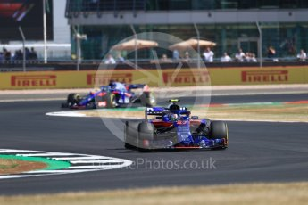 World © Octane Photographic Ltd. Formula 1 – British GP - Practice 1. Scuderia Toro Rosso STR13 – Pierre Gasly and Brendon Hartley. Silverstone Circuit, Towcester, UK. Friday 6th July 2018.