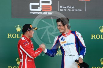 World © Octane Photographic Ltd. GP3 – British GP – Race 2. Trident - Pedro Piquet, Guiliano Alesi. Silverstone Circuit, Towcester, UK. Sunday 8th July 2018.