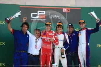 World © Octane Photographic Ltd. GP3 – British GP – Race 2. Trident - Pedro Piquet, Guiliano Alesi  and Ryan Tveter with Nelson Picquet and Jean Alsei. Silverstone Circuit, Towcester, UK. Sunday 8th July 2018.
