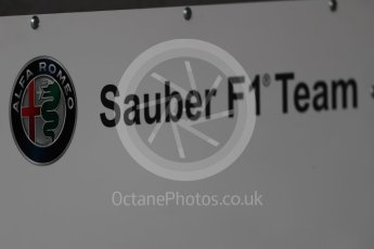 World © Octane Photographic Ltd. Formula 1 – British GP - Pit Lane. Alfa Romeo Sauber F1 Team logo. Silverstone Circuit, Towcester, UK. Thursday 5th July 2018.