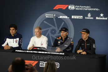 World © Octane Photographic Ltd. Formula 1 – Canadian GP - Thursday Driver Press Conference. Williams Martini Racing – Lance Stroll, Mercedes AMG Petronas Motorsport AMG F1 W09 EQ Power+ - Valtteri Bottas, Aston Martin Red Bull Racing TAG Heuer - Max Verstappen and McLaren – Stoffel Vandoorne. Circuit Gilles Villeneuve, Montreal, Canada. Thursday 7th June 2018.