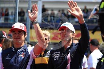 World © Octane Photographic Ltd. Formula 1 – Canadian GP - Drivers Parade. Williams Martini Racing FW41 – Lance Stroll and Sahara Force India VJM11 - Esteban Ocon. Circuit Gilles Villeneuve, Montreal, Canada. Sunday 10th June 2018.