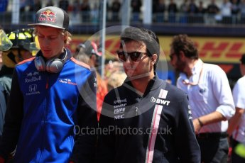 World © Octane Photographic Ltd. Formula 1 – Canadian GP - Drivers Parade. Sahara Force India VJM11 - Sergio Perez and Scuderia Toro Rosso STR13 – Brendon Hartley. Circuit Gilles Villeneuve, Montreal, Canada. Sunday 10th June 2018.