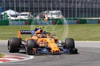 World © Octane Photographic Ltd. Formula 1 – Canadian GP - Quailfying. McLaren MCL33 – Stoffel Vandoorne. Circuit Gilles Villeneuve, Montreal, Canada. Saturday 9th June 2018.