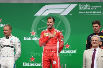World © Octane Photographic Ltd. Formula 1 – Canadian GP - Race Podium. Scuderia Ferrari SF71-H – Sebastian Vettel. Circuit Gilles Villeneuve, Montreal, Canada. Sunday 10th June 2018.