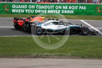 World © Octane Photographic Ltd. Formula 1 – Canadian GP - Race. Mercedes AMG Petronas Motorsport AMG F1 W09 EQ Power+ - Valtteri Bottas and Aston Martin Red Bull Racing TAG Heuer RB14 – Max Verstappen. Circuit Gilles Villeneuve, Montreal, Canada. Sunday 10th June 2018.
